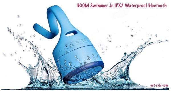 boom swimmer jr. ipx7 waterproof bluetooth speaker rechargeable battery mic