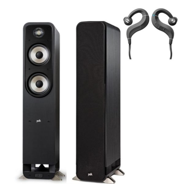 polk signature s55e floorstanding speaker (pair) plus free denon ah-c160w headphones