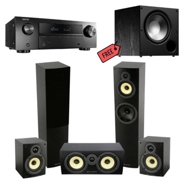 wharfedale crystal 4.3 home theatre speaker system with denon avr-x550bt amplifier