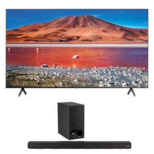"samsung 65"" tu7000 crystal uhd 4k smart tv & polk audio signa s2 soundbar"