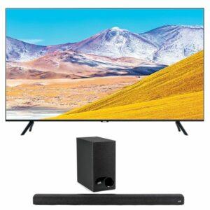 "samsung 75"" uhd 4k flat smart tv tu8000 with polk signa s2 soundbar"