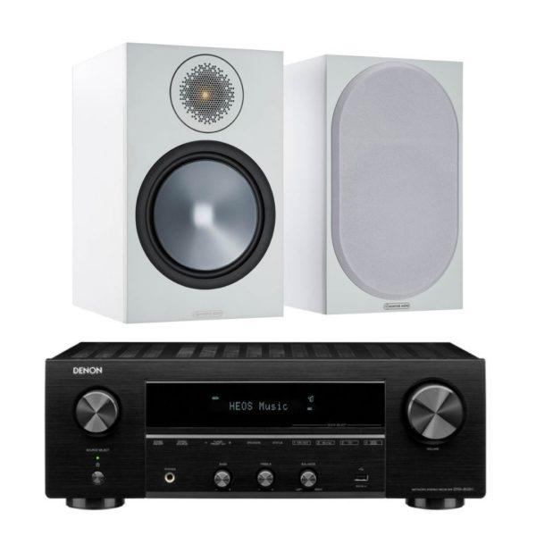 monitor audio bronze 100 white and denon dra 800h package