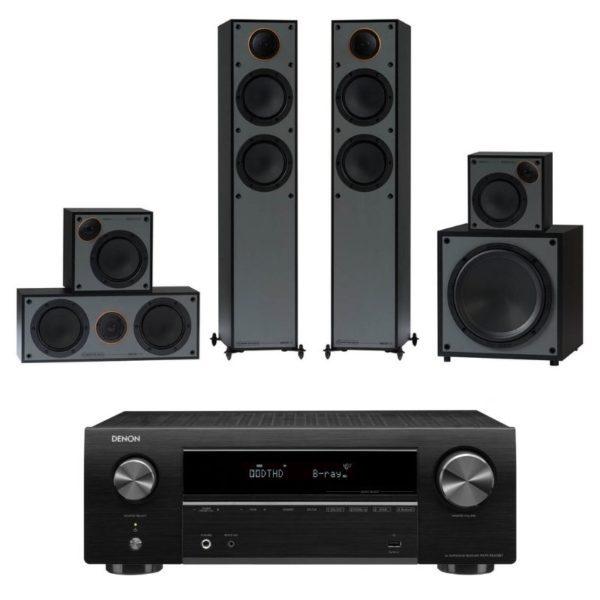 monitor audio monitor 200av 5.1 home theatre system with denon avr-x550bt amplifier