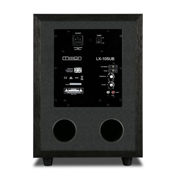 mission 200w active subwoofer back view