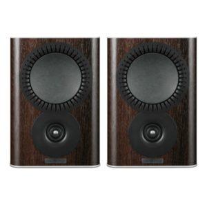mission qx-1 2-way bookshelf speaker walnut pearl