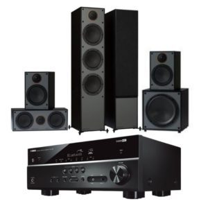 Monitor Audio MONITOR 300 5.1 System Black with Yamaha RX-V385 Amplifier