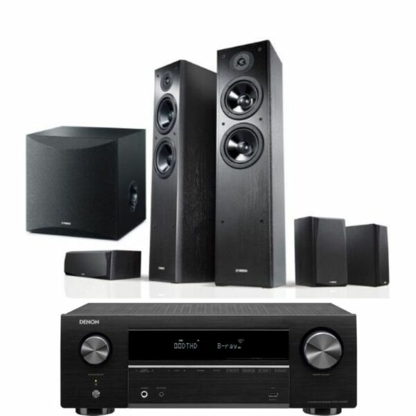 yamaha series ns f51 5.1 speaker package with denon avr-x550bt amplifier