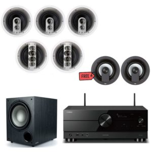 Jamo IC610 HCS 5.0 Home Theatre Package With Yamaha RX-A2A Amplifier Plus FREE IC 206 FG Atmos Speakers