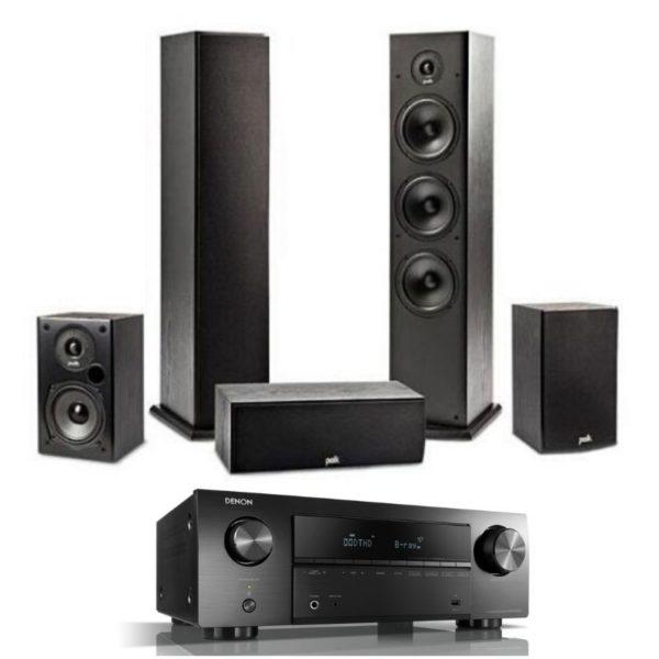 polk audio t series 5.0 speaker system & denon avr-x550bt
