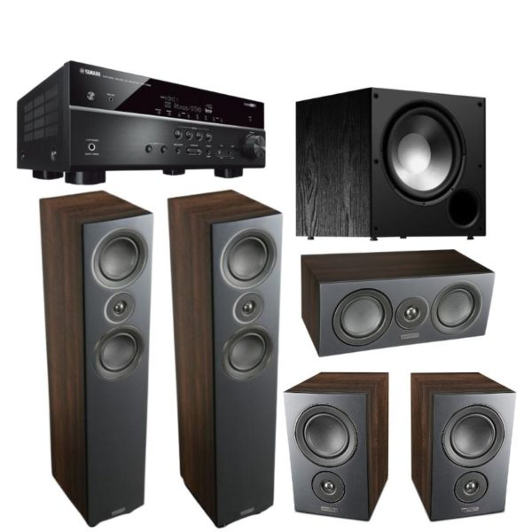 mission lx4 5.1 speaker package (walnut pearl) with yamaha rx-v4a receiver