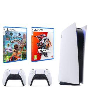 PlayStation 5 Disc Version - Glacier White - 2 Remote Controllers Plus 2 Games
