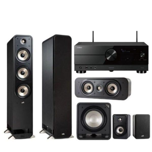polk audio s60e signature series 5.1 system & yamaha rx-v6a amplifier