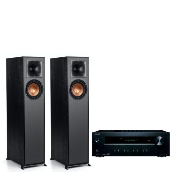 klipsch r-610f floorstanding speakers with onkyo tx-8220 stereo package