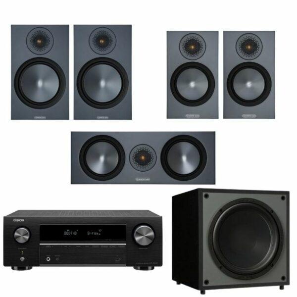 monitor audio bronze 100 5.1 system (black) with denon avr-x550bt amplifier