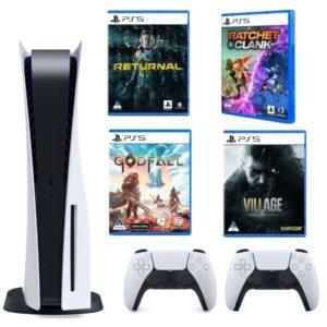 PlayStation 5 Disc Version – Glacier White – 2 Remote Controllers Plus 4 Games