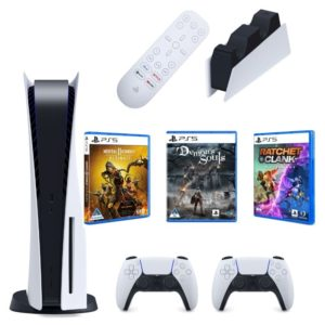 playstation 5 disc version - glacier white - 2 remote controllers plus 3 games and dualsense charging station