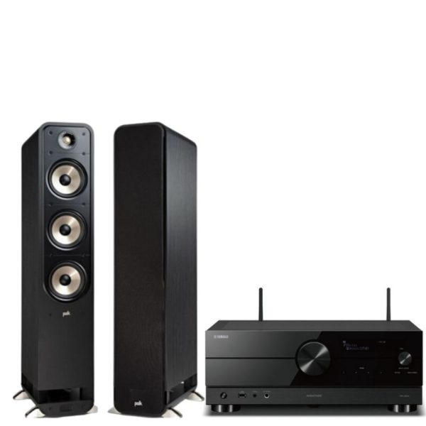 polk signature s60e tower speakers (pair) with yamaha rx-v2a amplifier