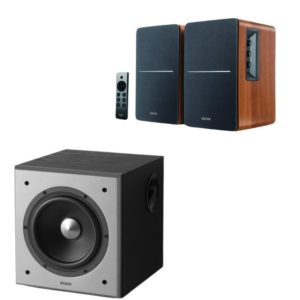 Edifier R1280DBs Speaker (Brown) and T5 Subwoofer Combo