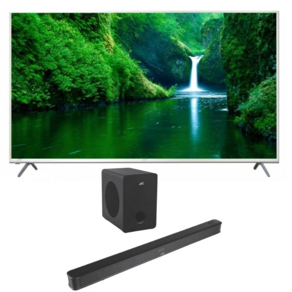 jvc lt-70n7105 70'' 4k smart tv and jvc soundbar combo