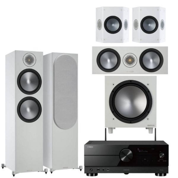 monitor audio bronze 500 5.1 system with yamaha rx-a2a amplifier (white)