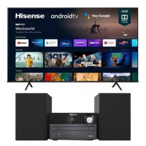"Hisense 75"" 4K UHD Android Smart TV with FREE Micro Hi-Fi HA120"