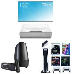 Optoma Cinemax P2 + Ambient Light Rejecting Screen + PS5 and Polk Audio Magnifi Mini Soundbar